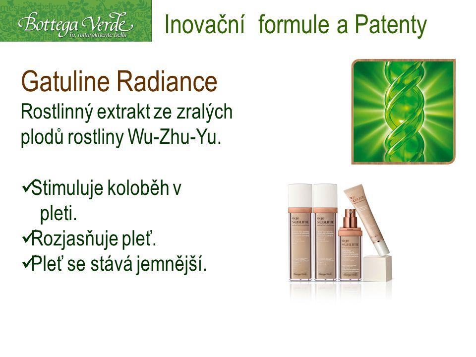 Gatuline Radiance Rostlinný extrakt ze zralých plodů rostliny Wu-Zhu-Yu. Stimuluje koloběh v pleti. Rozjasňuje pleť. Pleť se stává jemnější. Inovační
