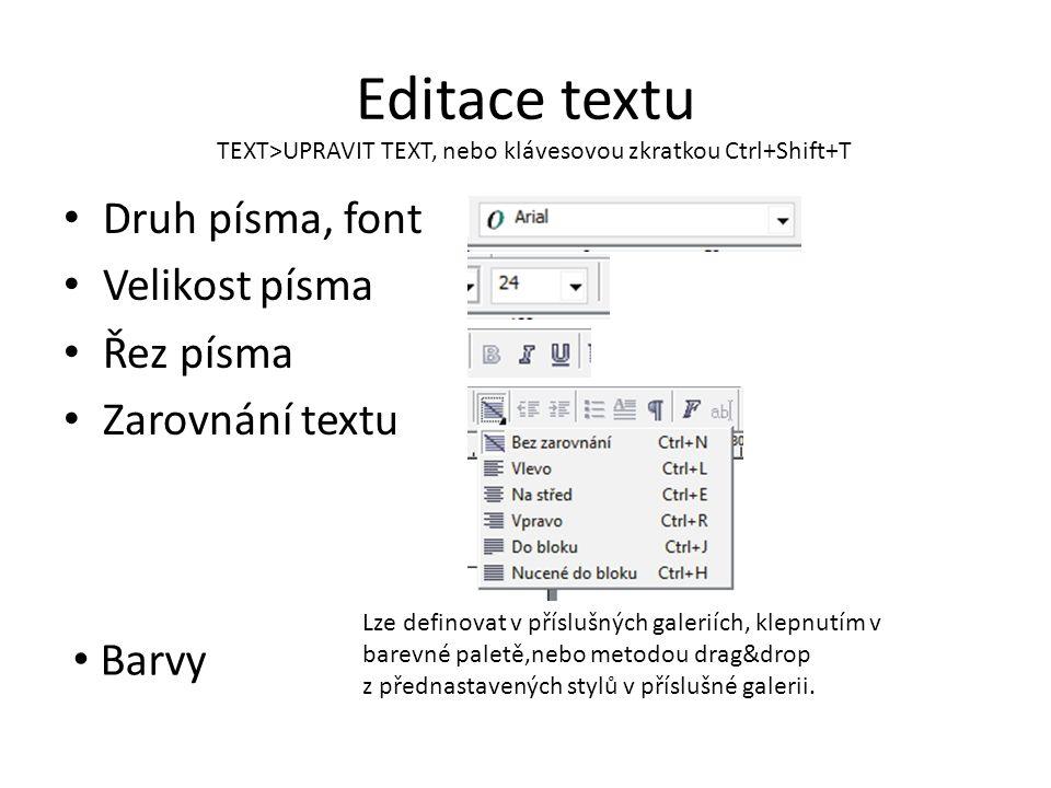 Editace textu Druh písma, font Velikost písma Řez písma Zarovnání textu TEXT>UPRAVIT TEXT, nebo klávesovou zkratkou Ctrl+Shift+T Barvy Lze definovat v příslušných galeriích, klepnutím v barevné paletě,nebo metodou drag&drop z přednastavených stylů v příslušné galerii.
