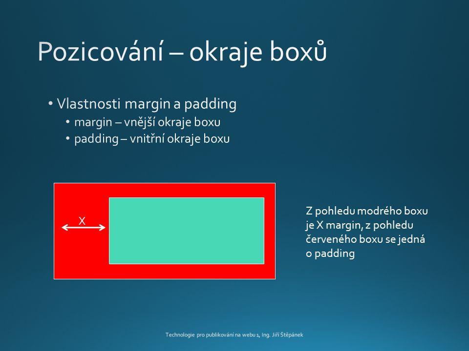 X Z pohledu modrého boxu je X margin, z pohledu červeného boxu se jedná o padding