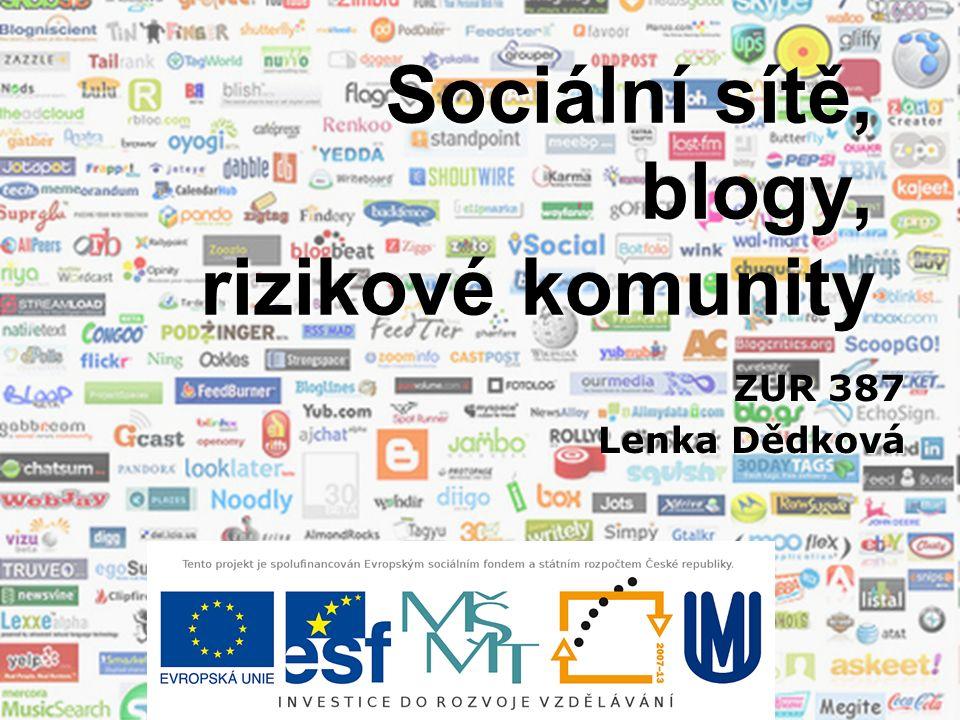 Sociální sítě, blogy, rizikové komunity ZUR 387 Lenka Dědková