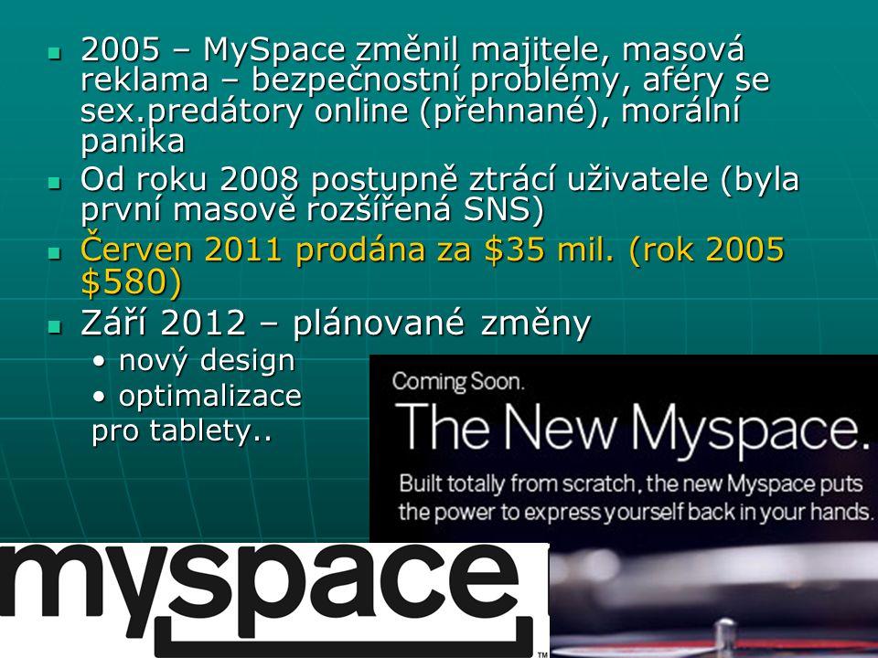 2005 – MySpace změnil majitele, masová reklama – bezpečnostní problémy, aféry se sex.predátory online (přehnané), morální panika 2005 – MySpace změnil majitele, masová reklama – bezpečnostní problémy, aféry se sex.predátory online (přehnané), morální panika Od roku 2008 postupně ztrácí uživatele (byla první masově rozšířená SNS) Od roku 2008 postupně ztrácí uživatele (byla první masově rozšířená SNS) Červen 2011 prodána za $ 35 mil.