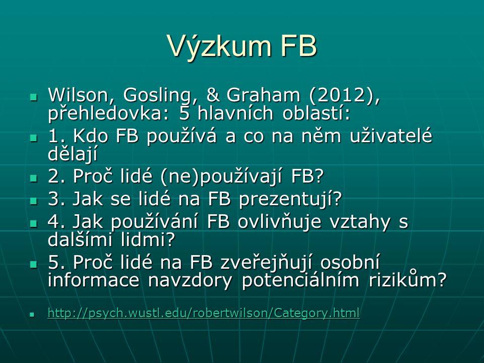 Výzkum FB Wilson, Gosling, & Graham (2012), přehledovka: 5 hlavních oblastí: Wilson, Gosling, & Graham (2012), přehledovka: 5 hlavních oblastí: 1.