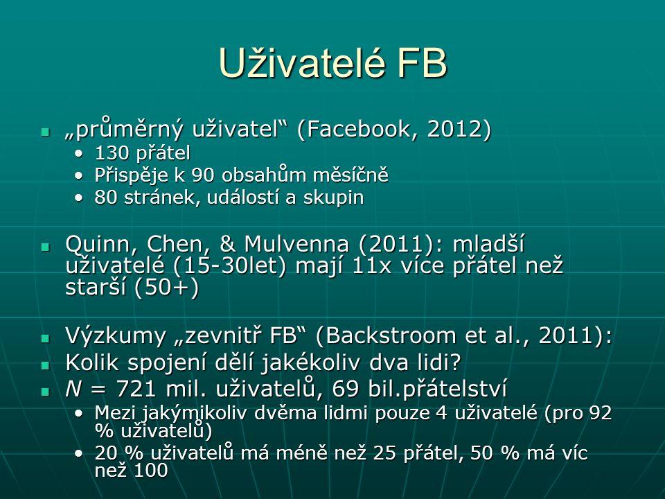 """Uživatelé FB """"průměrný uživatel (Facebook, 2012) """"průměrný uživatel (Facebook, 2012) 130 přátel130 přátel Přispěje k 90 obsahům měsíčněPřispěje k 90 obsahům měsíčně 80 stránek, událostí a skupin80 stránek, událostí a skupin Quinn, Chen, & Mulvenna (2011): mladší uživatelé (15-30let) mají 11x více přátel než starší (50+) Quinn, Chen, & Mulvenna (2011): mladší uživatelé (15-30let) mají 11x více přátel než starší (50+) Výzkumy """"zevnitř FB (Backstroom et al., 2011): Výzkumy """"zevnitř FB (Backstroom et al., 2011): Kolik spojení dělí jakékoliv dva lidi."""