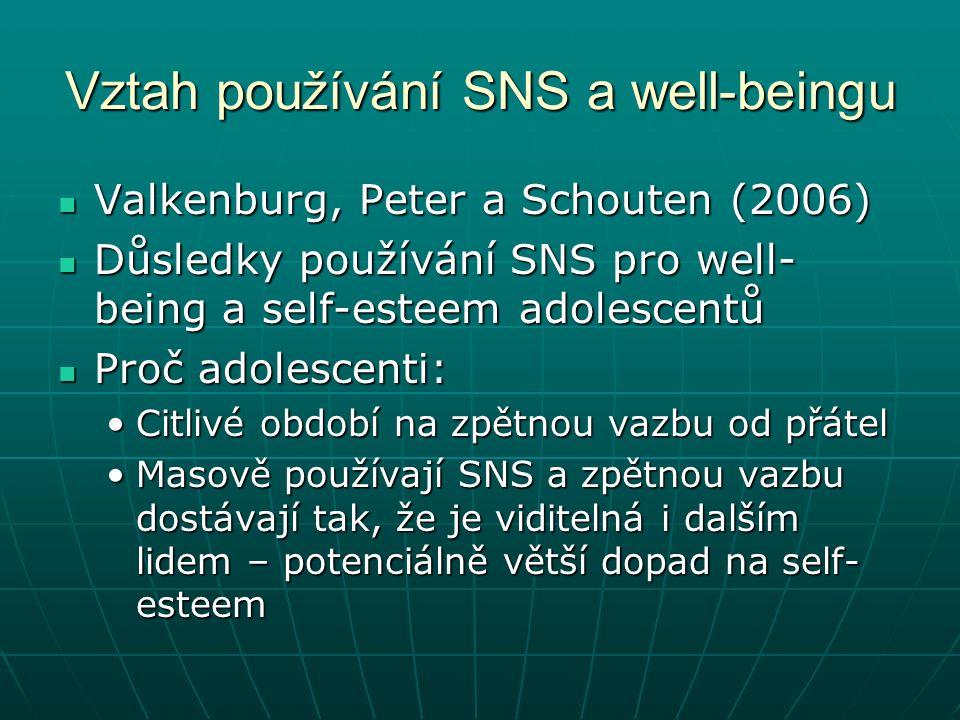 Vztah používání SNS a well-beingu Valkenburg, Peter a Schouten (2006) Valkenburg, Peter a Schouten (2006) Důsledky používání SNS pro well- being a self-esteem adolescentů Důsledky používání SNS pro well- being a self-esteem adolescentů Proč adolescenti: Proč adolescenti: Citlivé období na zpětnou vazbu od přátelCitlivé období na zpětnou vazbu od přátel Masově používají SNS a zpětnou vazbu dostávají tak, že je viditelná i dalším lidem – potenciálně větší dopad na self- esteemMasově používají SNS a zpětnou vazbu dostávají tak, že je viditelná i dalším lidem – potenciálně větší dopad na self- esteem