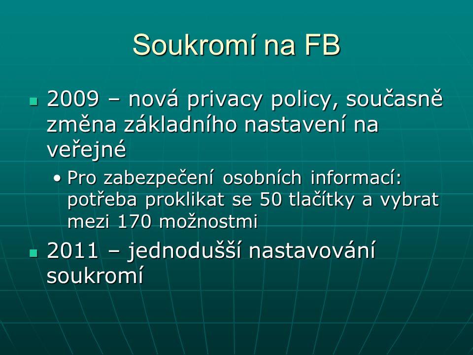 Soukromí na FB 2009 – nová privacy policy, současně změna základního nastavení na veřejné 2009 – nová privacy policy, současně změna základního nastavení na veřejné Pro zabezpečení osobních informací: potřeba proklikat se 50 tlačítky a vybrat mezi 170 možnostmiPro zabezpečení osobních informací: potřeba proklikat se 50 tlačítky a vybrat mezi 170 možnostmi 2011 – jednodušší nastavování soukromí 2011 – jednodušší nastavování soukromí