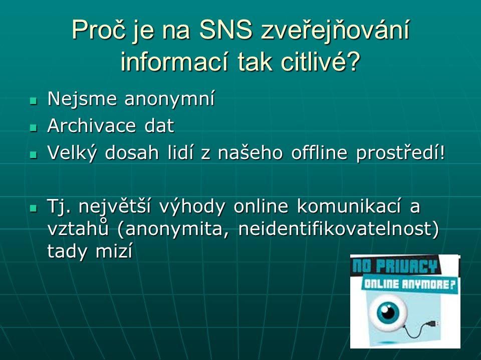 Proč je na SNS zveřejňování informací tak citlivé.