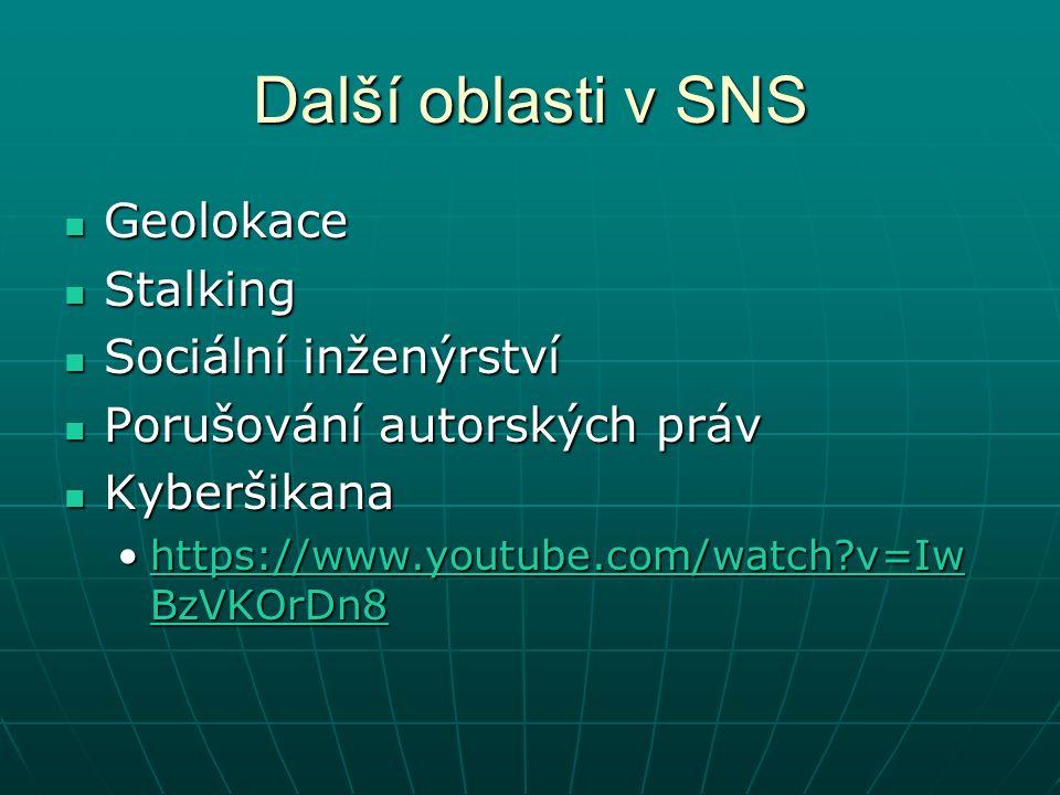 Další oblasti v SNS Geolokace Geolokace Stalking Stalking Sociální inženýrství Sociální inženýrství Porušování autorských práv Porušování autorských práv Kyberšikana Kyberšikana https://www.youtube.com/watch v=Iw BzVKOrDn8https://www.youtube.com/watch v=Iw BzVKOrDn8https://www.youtube.com/watch v=Iw BzVKOrDn8https://www.youtube.com/watch v=Iw BzVKOrDn8