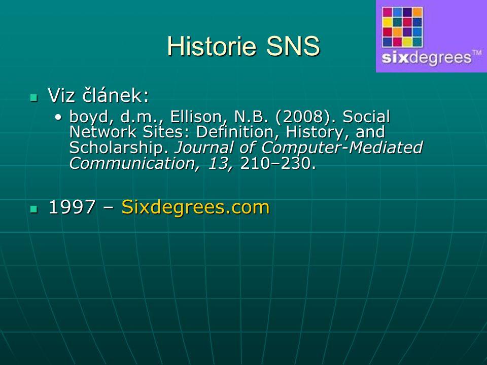 Historie SNS Viz článek: Viz článek: boyd, d.m., Ellison, N.B.