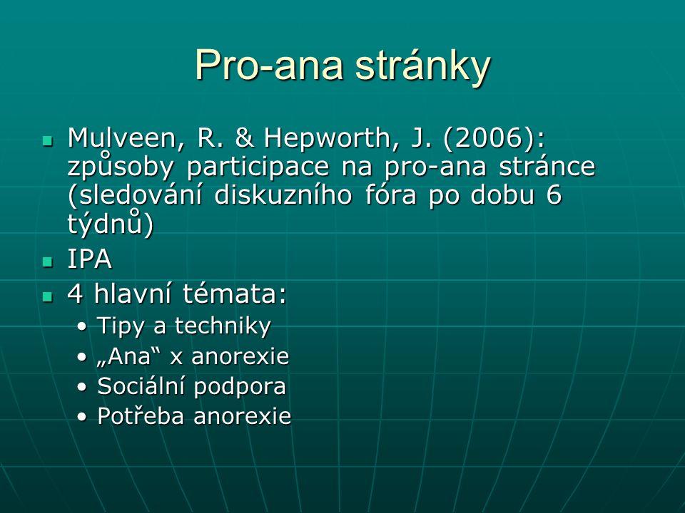 Pro-ana stránky Mulveen, R. & Hepworth, J.