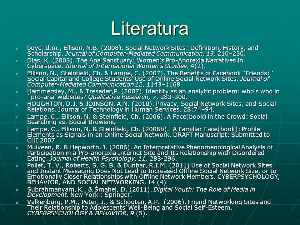 Literatura boyd, d.m., Ellison, N.B. (2008).