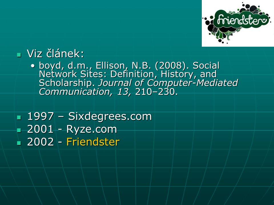 Viz článek: Viz článek: boyd, d.m., Ellison, N.B.(2008).