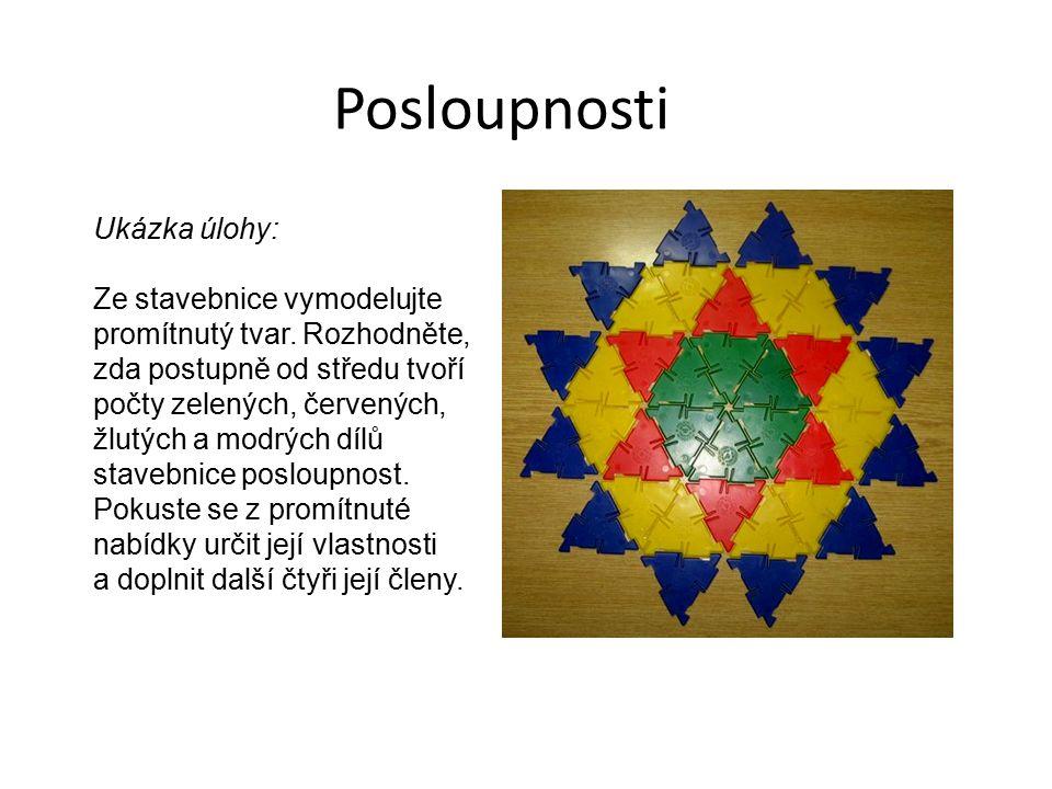Posloupnosti Ukázka úlohy: Ze stavebnice vymodelujte promítnutý tvar. Rozhodněte, zda postupně od středu tvoří počty zelených, červených, žlutých a mo