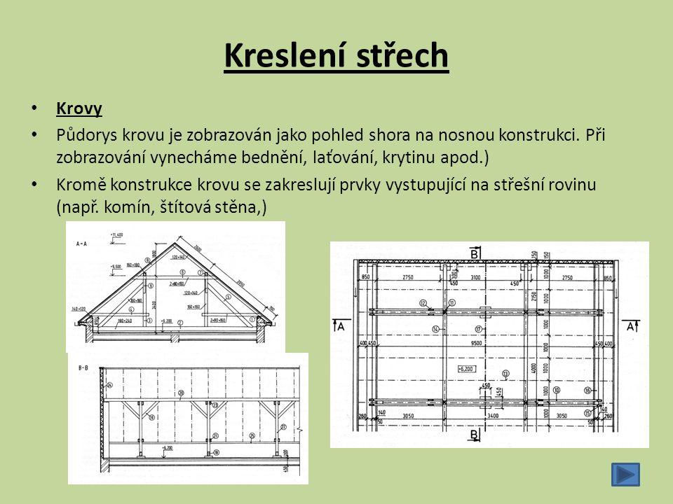 Krovy Půdorys krovu je zobrazován jako pohled shora na nosnou konstrukci. Při zobrazování vynecháme bednění, laťování, krytinu apod.) Kromě konstrukce
