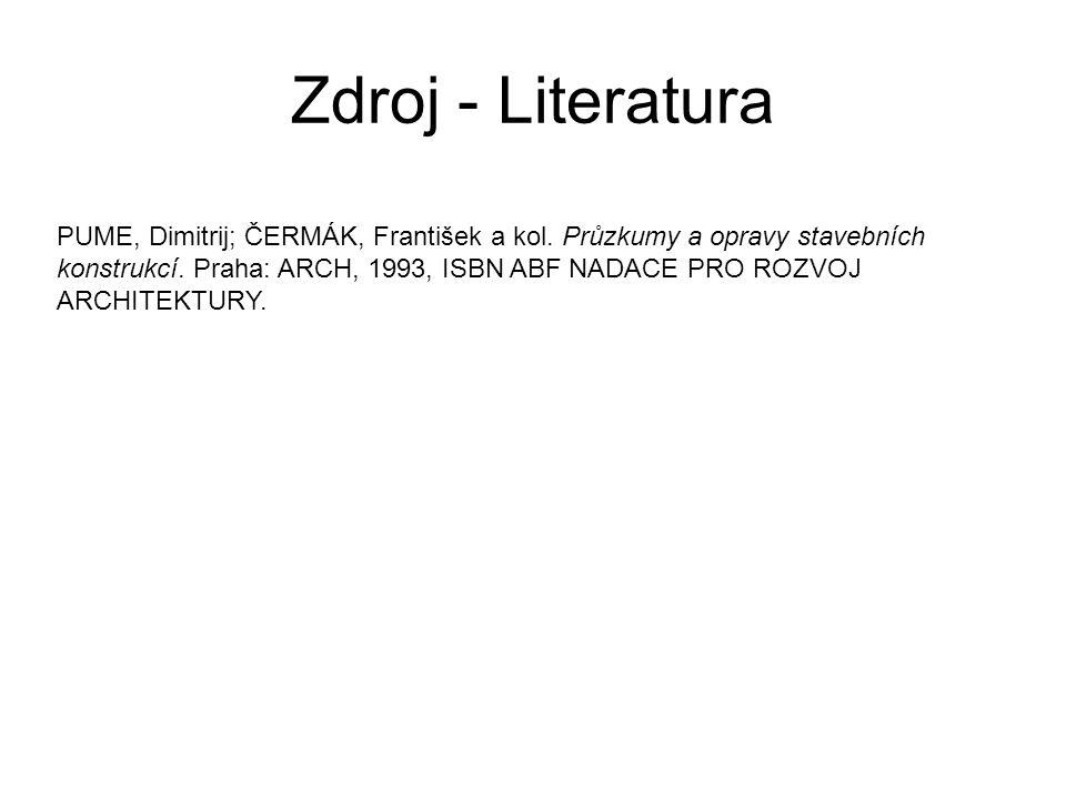 Zdroj - Literatura PUME, Dimitrij; ČERMÁK, František a kol. Průzkumy a opravy stavebních konstrukcí. Praha: ARCH, 1993, ISBN ABF NADACE PRO ROZVOJ ARC
