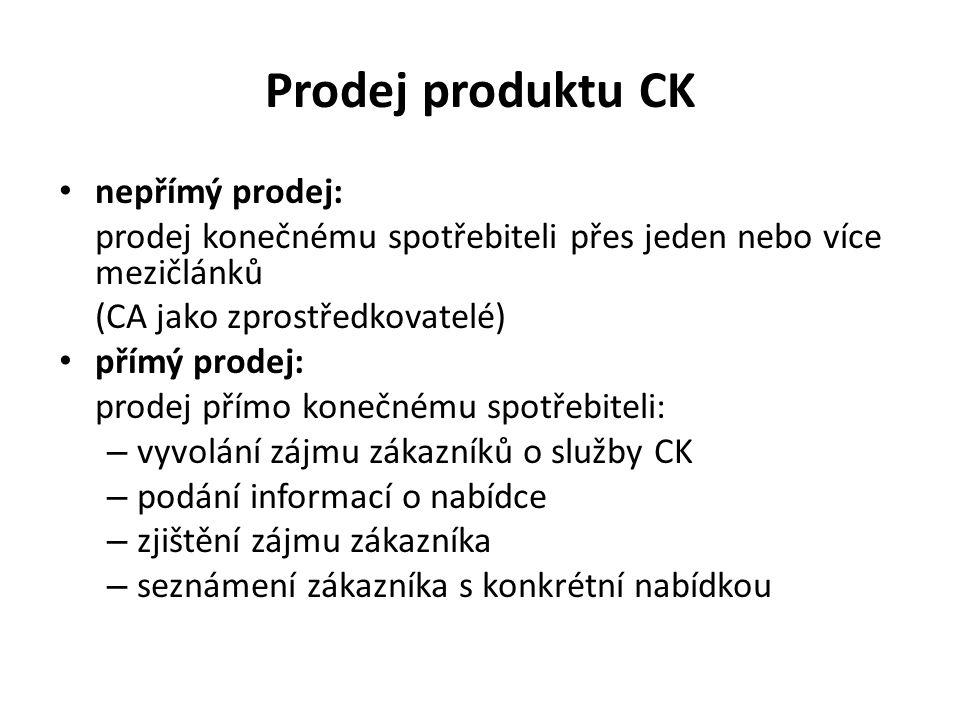 Prodej produktu CK nepřímý prodej: prodej konečnému spotřebiteli přes jeden nebo více mezičlánků (CA jako zprostředkovatelé) přímý prodej: prodej přímo konečnému spotřebiteli: – vyvolání zájmu zákazníků o služby CK – podání informací o nabídce – zjištění zájmu zákazníka – seznámení zákazníka s konkrétní nabídkou