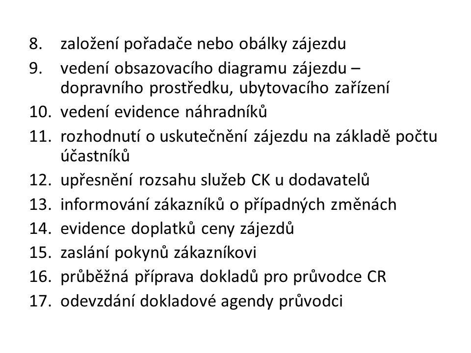 8.založení pořadače nebo obálky zájezdu 9.vedení obsazovacího diagramu zájezdu – dopravního prostředku, ubytovacího zařízení 10.vedení evidence náhradníků 11.rozhodnutí o uskutečnění zájezdu na základě počtu účastníků 12.upřesnění rozsahu služeb CK u dodavatelů 13.informování zákazníků o případných změnách 14.evidence doplatků ceny zájezdů 15.zaslání pokynů zákazníkovi 16.průběžná příprava dokladů pro průvodce CR 17.odevzdání dokladové agendy průvodci