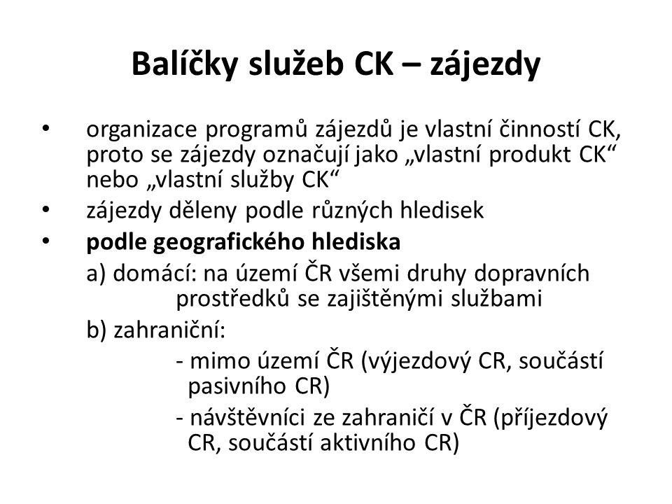 """Balíčky služeb CK – zájezdy organizace programů zájezdů je vlastní činností CK, proto se zájezdy označují jako """"vlastní produkt CK nebo """"vlastní služby CK zájezdy děleny podle různých hledisek podle geografického hlediska a) domácí: na území ČR všemi druhy dopravních prostředků se zajištěnými službami b) zahraniční: - mimo území ČR (výjezdový CR, součástí pasivního CR) - návštěvníci ze zahraničí v ČR (příjezdový CR, součástí aktivního CR)"""