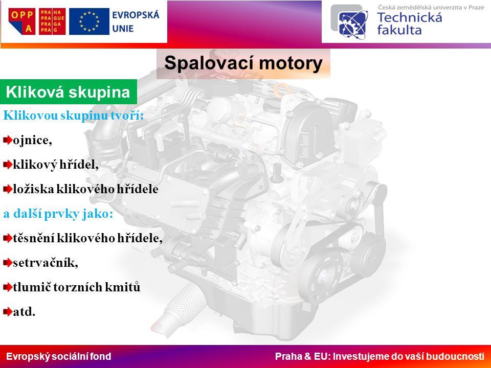 Evropský sociální fond Praha & EU: Investujeme do vaší budoucnosti Kliková skupina Spalovací motory Klikovou skupinu tvoří: ojnice, klikový hřídel, ložiska klikového hřídele a další prvky jako: těsnění klikového hřídele, setrvačník, tlumič torzních kmitů atd.