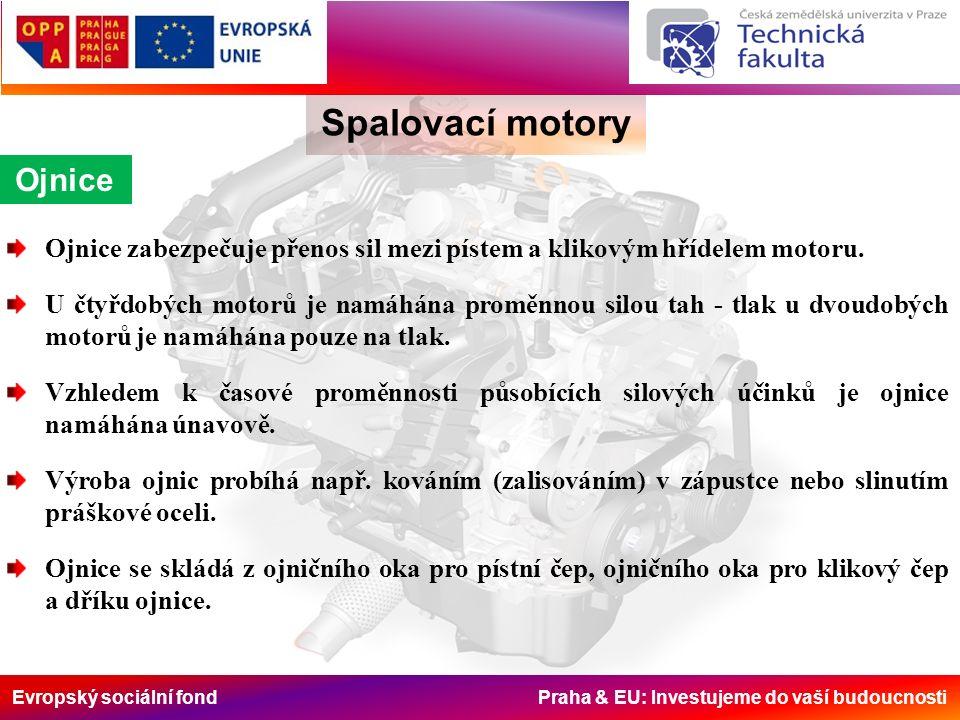 Evropský sociální fond Praha & EU: Investujeme do vaší budoucnosti Ojnice Spalovací motory Ojnice zabezpečuje přenos sil mezi pístem a klikovým hřídelem motoru.