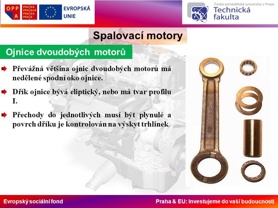Evropský sociální fond Praha & EU: Investujeme do vaší budoucnosti Ojnice dvoudobých motorů Spalovací motory Převážná většina ojnic dvoudobých motorů má nedělené spodní oko ojnice.