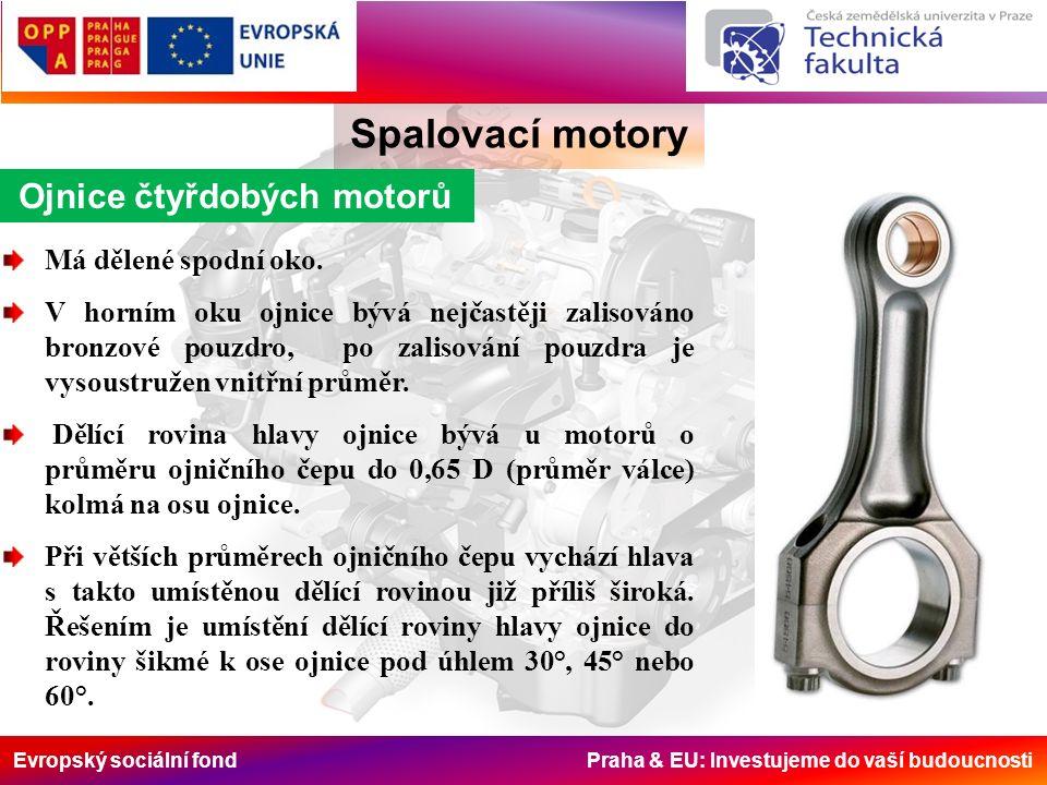 Evropský sociální fond Praha & EU: Investujeme do vaší budoucnosti Ojnice čtyřdobých motorů Spalovací motory Má dělené spodní oko.