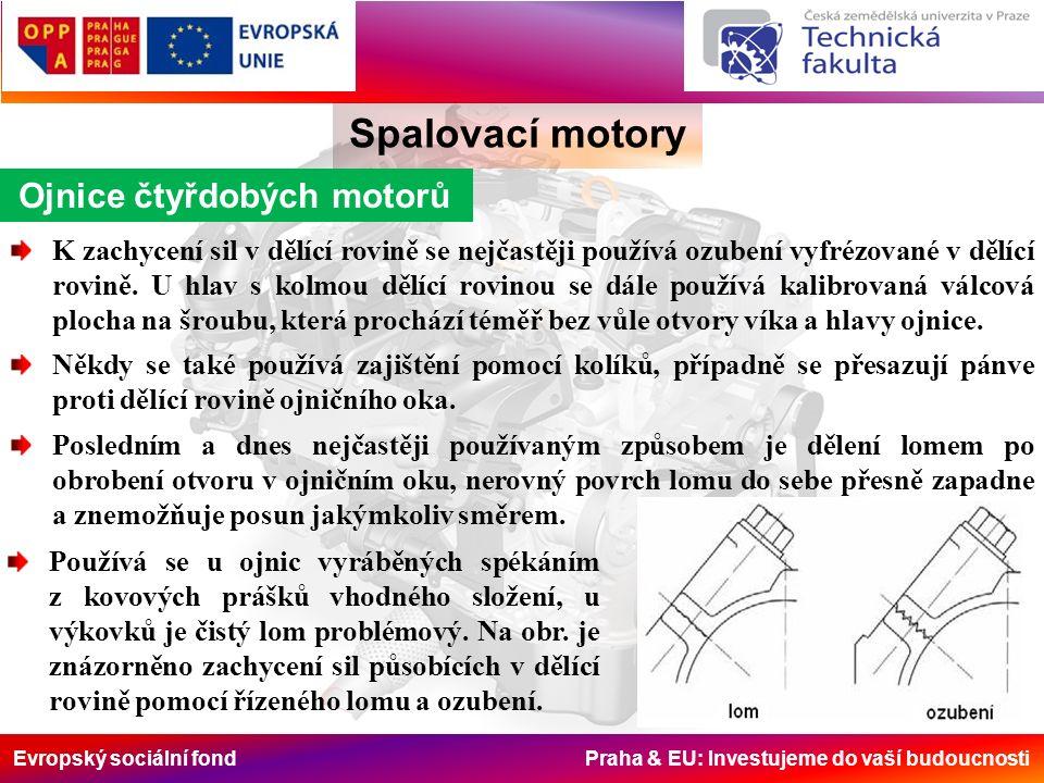 Evropský sociální fond Praha & EU: Investujeme do vaší budoucnosti Ojnice čtyřdobých motorů Spalovací motory K zachycení sil v dělící rovině se nejčastěji používá ozubení vyfrézované v dělící rovině.