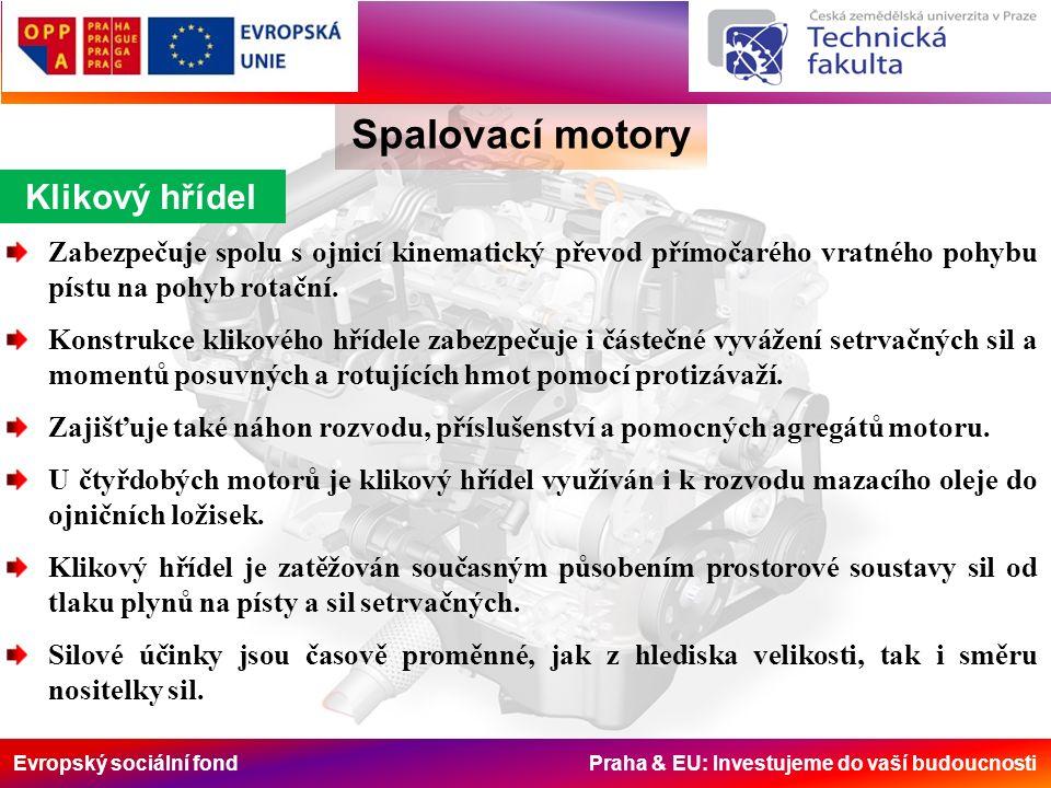 Evropský sociální fond Praha & EU: Investujeme do vaší budoucnosti Klikový hřídel Spalovací motory Zabezpečuje spolu s ojnicí kinematický převod přímočarého vratného pohybu pístu na pohyb rotační.
