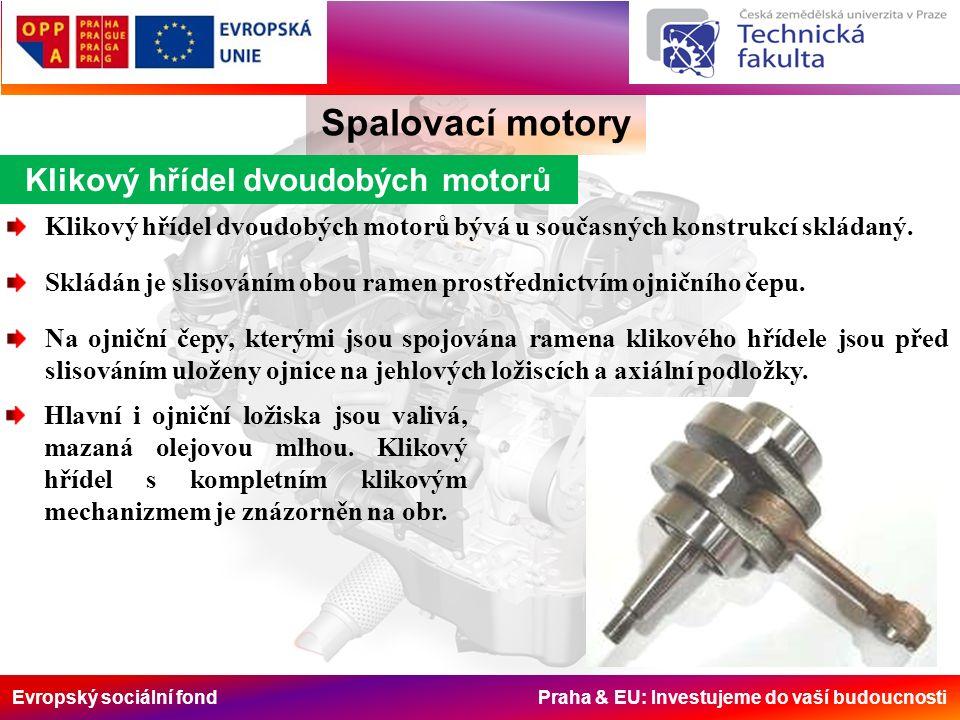 Evropský sociální fond Praha & EU: Investujeme do vaší budoucnosti Klikový hřídel dvoudobých motorů Spalovací motory Klikový hřídel dvoudobých motorů bývá u současných konstrukcí skládaný.
