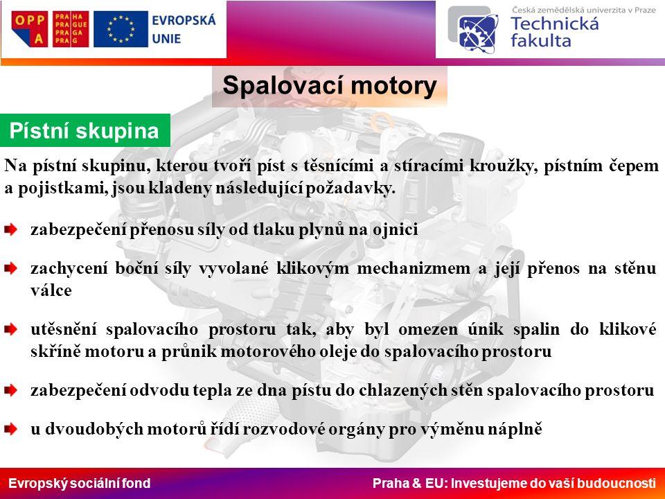 Evropský sociální fond Praha & EU: Investujeme do vaší budoucnosti Spalovací motory Pístní skupina Na pístní skupinu, kterou tvoří píst s těsnícími a stíracími kroužky, pístním čepem a pojistkami, jsou kladeny následující požadavky.
