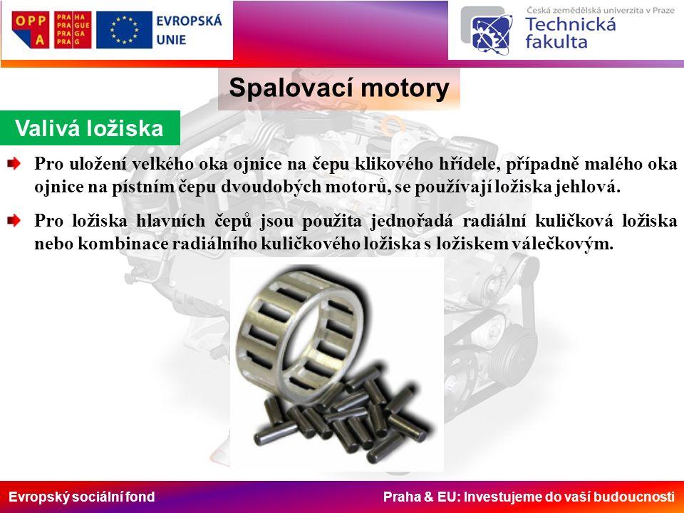 Evropský sociální fond Praha & EU: Investujeme do vaší budoucnosti Valivá ložiska Spalovací motory Pro uložení velkého oka ojnice na čepu klikového hřídele, případně malého oka ojnice na pístním čepu dvoudobých motorů, se používají ložiska jehlová.
