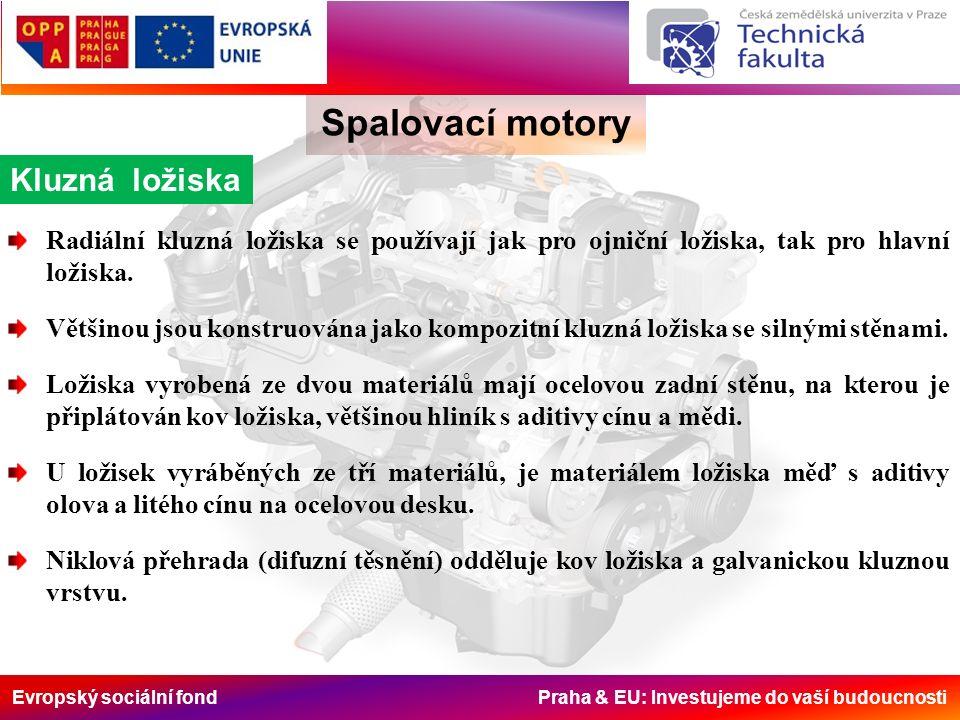 Evropský sociální fond Praha & EU: Investujeme do vaší budoucnosti Kluzná ložiska Spalovací motory Radiální kluzná ložiska se používají jak pro ojniční ložiska, tak pro hlavní ložiska.