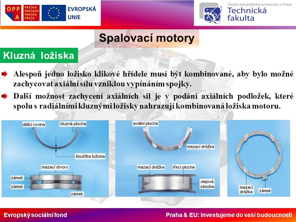 Evropský sociální fond Praha & EU: Investujeme do vaší budoucnosti Kluzná ložiska Spalovací motory Alespoň jedno ložisko klikové hřídele musí být kombinované, aby bylo možné zachycovat axiální sílu vzniklou vypínáním spojky.