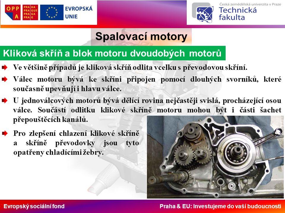 Evropský sociální fond Praha & EU: Investujeme do vaší budoucnosti Kliková skříň a blok motoru dvoudobých motorů Spalovací motory Ve většině případů je kliková skříň odlita vcelku s převodovou skříní.