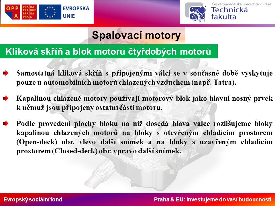 Evropský sociální fond Praha & EU: Investujeme do vaší budoucnosti Kliková skříň a blok motoru čtyřdobých motorů Spalovací motory Samostatná kliková skříň s připojenými válci se v současné době vyskytuje pouze u automobilních motorů chlazených vzduchem (např.