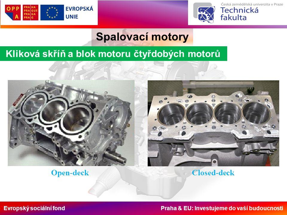 Evropský sociální fond Praha & EU: Investujeme do vaší budoucnosti Kliková skříň a blok motoru čtyřdobých motorů Spalovací motory Open-deckClosed-deck