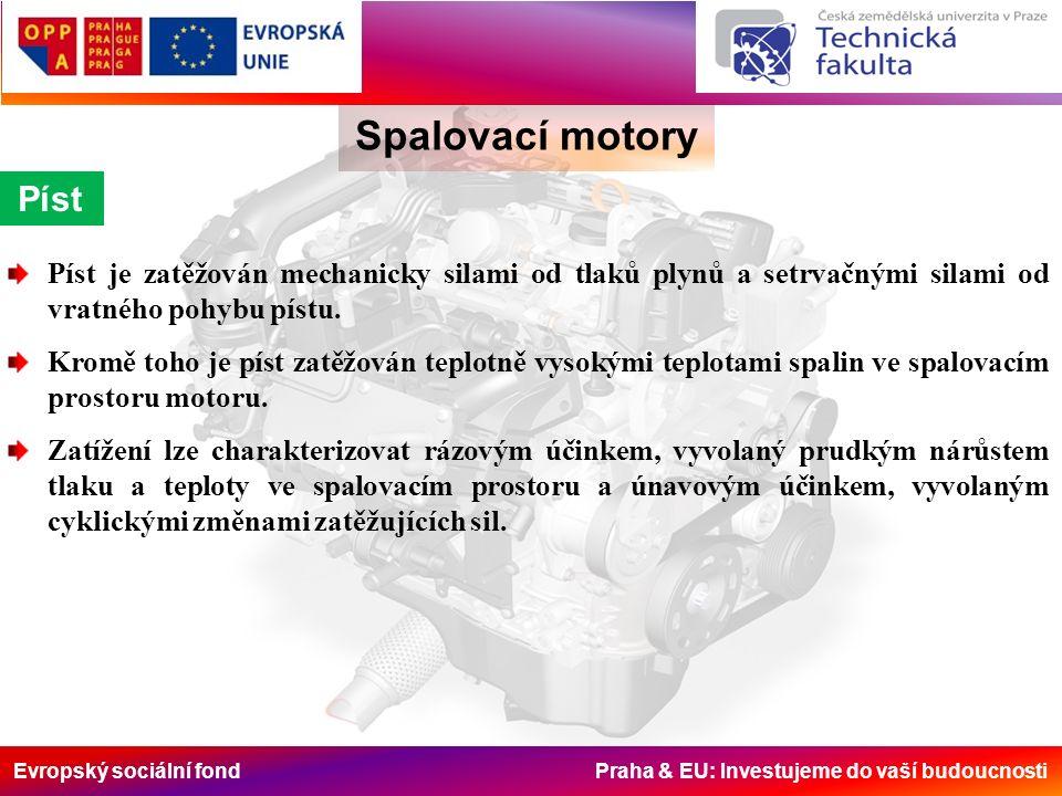 Evropský sociální fond Praha & EU: Investujeme do vaší budoucnosti Spalovací motory Píst Píst je zatěžován mechanicky silami od tlaků plynů a setrvačnými silami od vratného pohybu pístu.