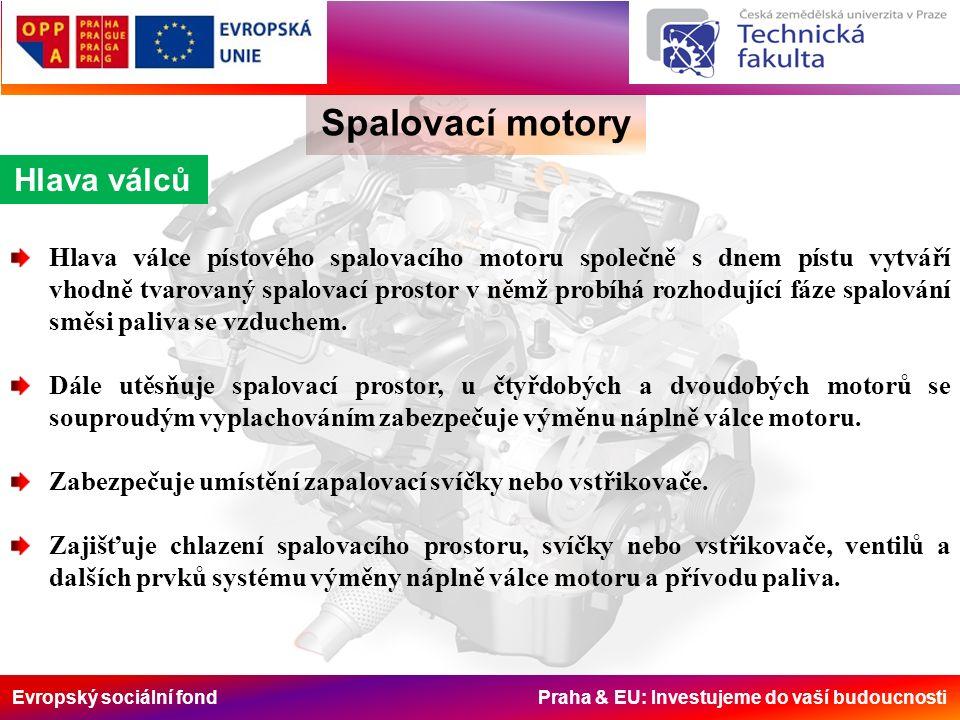 Evropský sociální fond Praha & EU: Investujeme do vaší budoucnosti Hlava válců Spalovací motory Hlava válce pístového spalovacího motoru společně s dnem pístu vytváří vhodně tvarovaný spalovací prostor v němž probíhá rozhodující fáze spalování směsi paliva se vzduchem.
