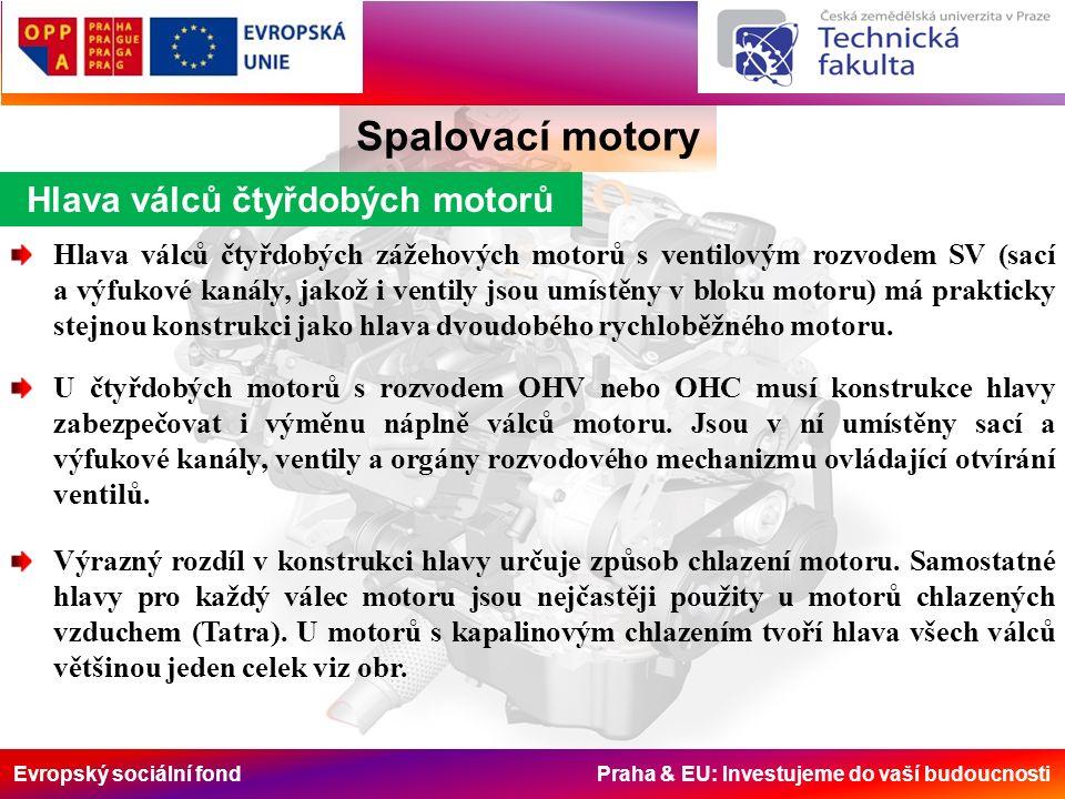 Evropský sociální fond Praha & EU: Investujeme do vaší budoucnosti Hlava válců čtyřdobých motorů Spalovací motory Hlava válců čtyřdobých zážehových motorů s ventilovým rozvodem SV (sací a výfukové kanály, jakož i ventily jsou umístěny v bloku motoru) má prakticky stejnou konstrukci jako hlava dvoudobého rychloběžného motoru.