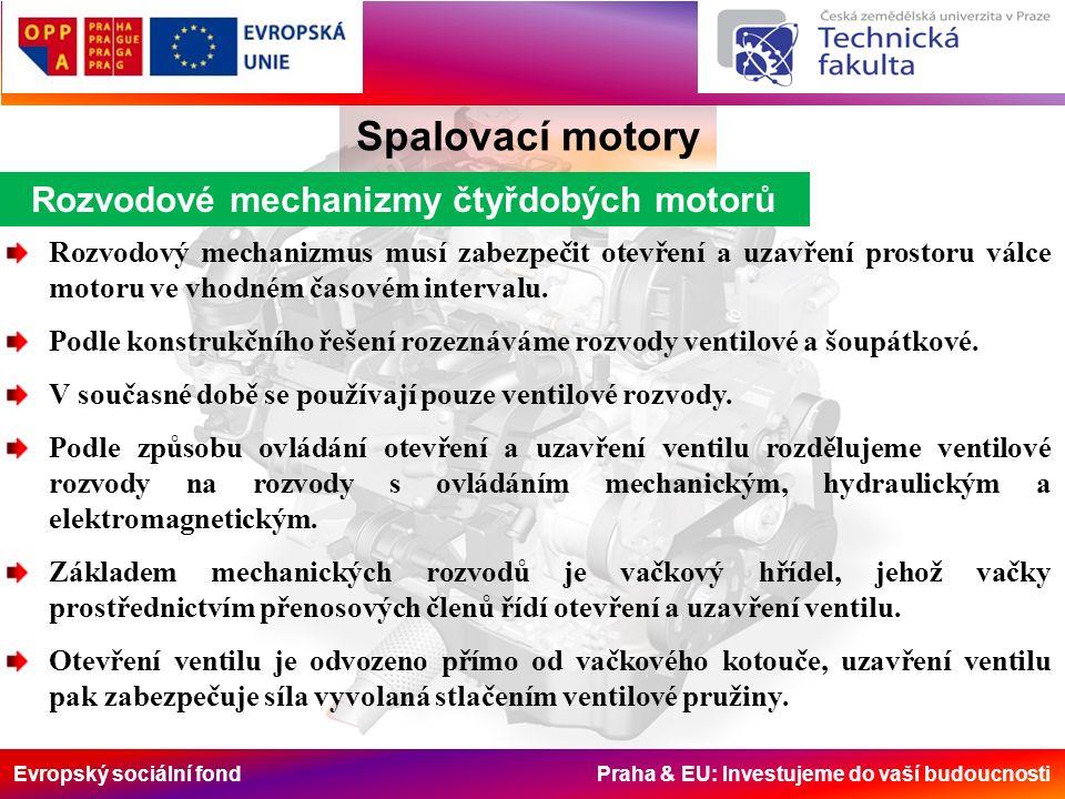 Evropský sociální fond Praha & EU: Investujeme do vaší budoucnosti Rozvodové mechanizmy čtyřdobých motorů Spalovací motory Rozvodový mechanizmus musí zabezpečit otevření a uzavření prostoru válce motoru ve vhodném časovém intervalu.
