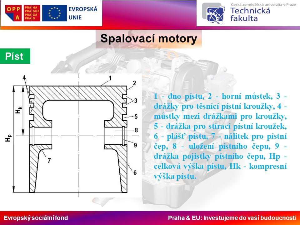 Evropský sociální fond Praha & EU: Investujeme do vaší budoucnosti Píst 1 - dno pístu, 2 - horní můstek, 3 - drážky pro těsnící pístní kroužky, 4 - můstky mezi drážkami pro kroužky, 5 - drážka pro stírací pístní kroužek, 6 - plášť pístu, 7 - nálitek pro pístní čep, 8 - uložení pístního čepu, 9 - drážka pojistky pístního čepu, Hp - celková výška pístu, Hk - kompresní výška pístu.