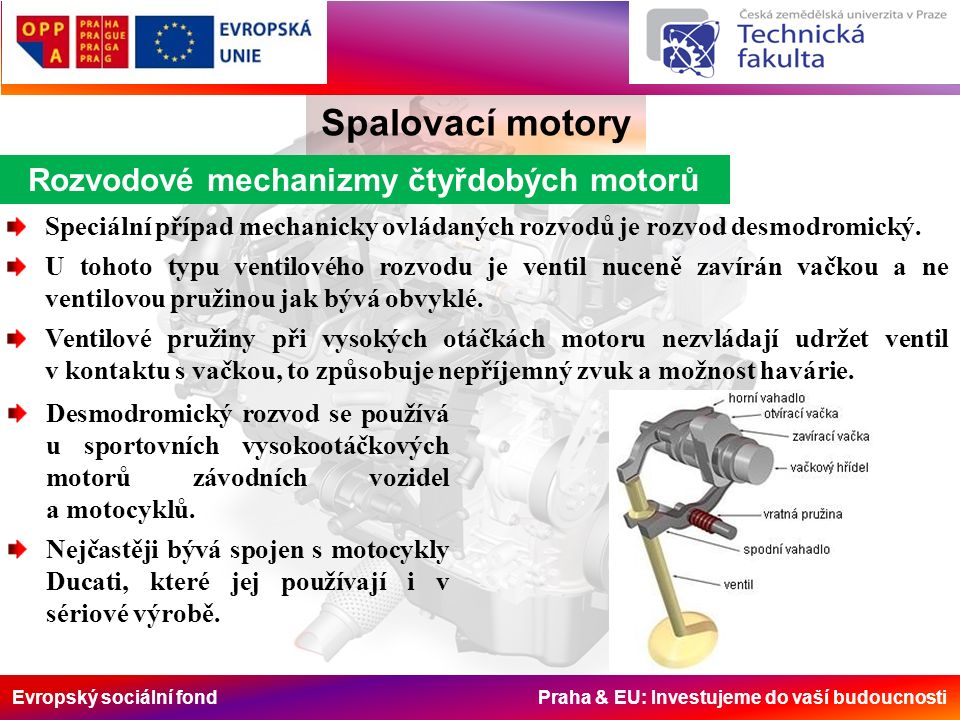 Evropský sociální fond Praha & EU: Investujeme do vaší budoucnosti Rozvodové mechanizmy čtyřdobých motorů Spalovací motory Speciální případ mechanicky ovládaných rozvodů je rozvod desmodromický.