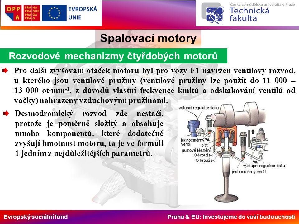 Evropský sociální fond Praha & EU: Investujeme do vaší budoucnosti Rozvodové mechanizmy čtyřdobých motorů Spalovací motory Pro další zvyšování otáček motoru byl pro vozy F1 navržen ventilový rozvod, u kterého jsou ventilové pružiny (ventilové pružiny lze použít do 11 000 – 13 000 ot·min -1, z důvodů vlastní frekvence kmitů a odskakování ventilů od vačky) nahrazeny vzduchovými pružinami.