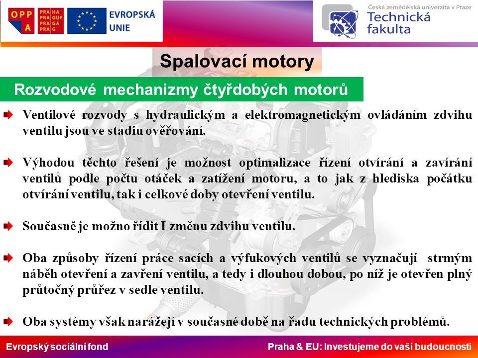 Evropský sociální fond Praha & EU: Investujeme do vaší budoucnosti Rozvodové mechanizmy čtyřdobých motorů Spalovací motory Ventilové rozvody s hydraulickým a elektromagnetickým ovládáním zdvihu ventilu jsou ve stadiu ověřování.
