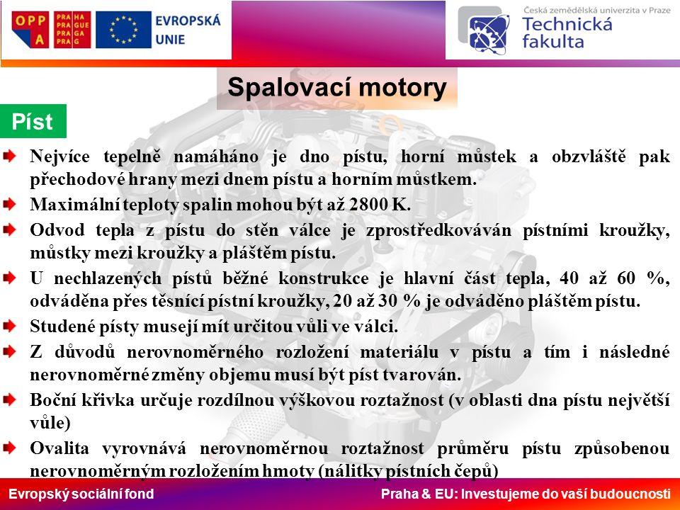 Evropský sociální fond Praha & EU: Investujeme do vaší budoucnosti Píst Spalovací motory Nejvíce tepelně namáháno je dno pístu, horní můstek a obzvláště pak přechodové hrany mezi dnem pístu a horním můstkem.