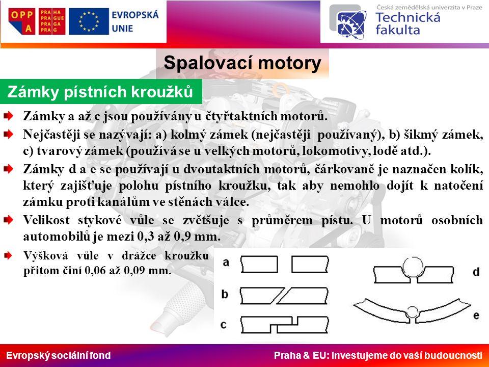 Evropský sociální fond Praha & EU: Investujeme do vaší budoucnosti Zámky pístních kroužků Spalovací motory Zámky a až c jsou používány u čtyřtaktních motorů.