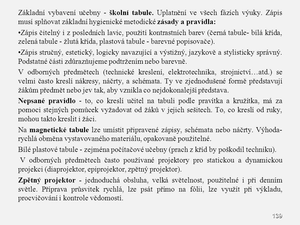 139 Základní vybavení učebny - školní tabule. Uplatnění ve všech fázích výuky. Zápis musí splňovat základní hygienické metodické zásady a pravidla: Zá
