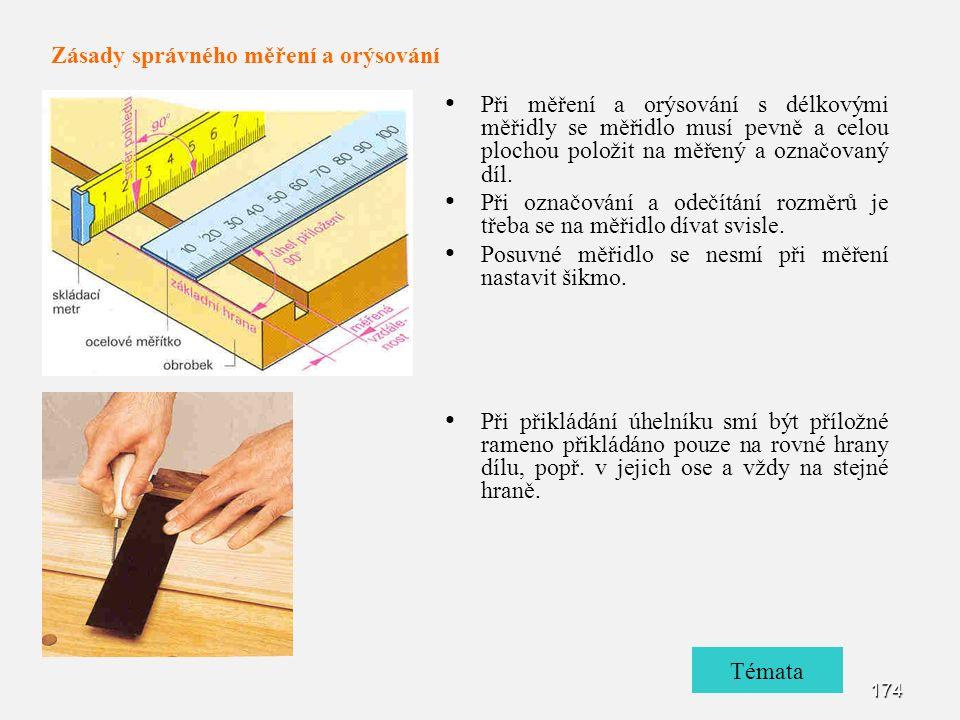 174 Při měření a orýsování s délkovými měřidly se měřidlo musí pevně a celou plochou položit na měřený a označovaný díl.