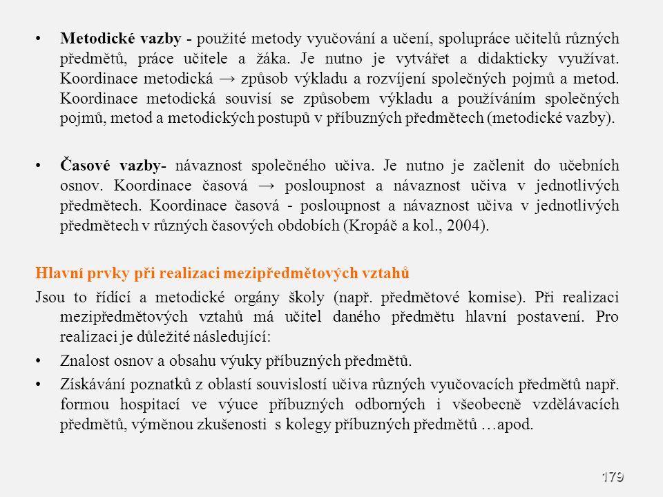 179 Metodické vazby - použité metody vyučování a učení, spolupráce učitelů různých předmětů, práce učitele a žáka.