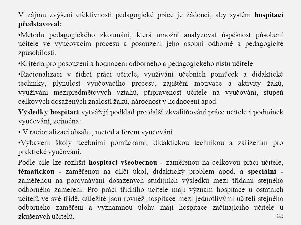 188 V zájmu zvýšení efektivnosti pedagogické práce je žádoucí, aby systém hospitací představoval: Metodu pedagogického zkoumání, která umožní analyzov