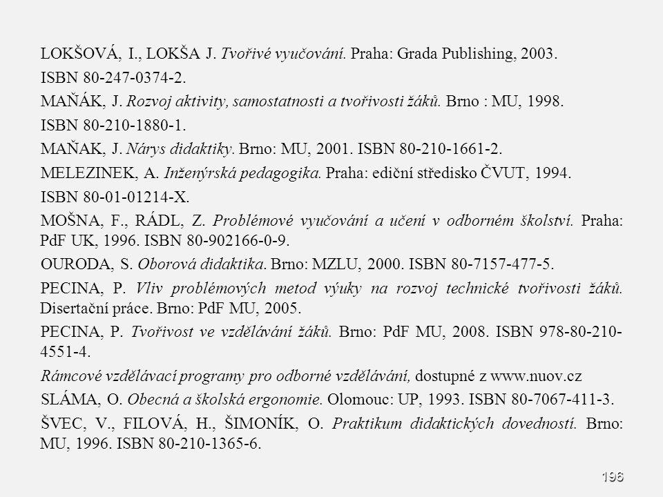 LOKŠOVÁ, I., LOKŠA J. Tvořivé vyučování. Praha: Grada Publishing, 2003. ISBN 80-247-0374-2. MAŇÁK, J. Rozvoj aktivity, samostatnosti a tvořivosti žáků